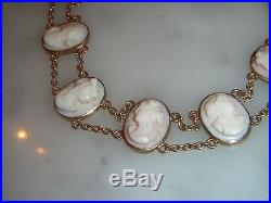 Stunning Antique 9ct Gold Carved Pink Coral Lady Cameo Bracelet & Safety Chain