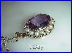 Stunning Antique Victorian 8.00 Carat Amethyst & Pearl 9 Ct Gold Pendnt & Chain