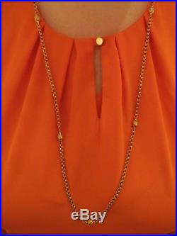 STUNNING ANTIQUE VICTORIAN SEVEN BEAD 9ct GOLD NECKLACE NECK CHAIN 37 inch 14g