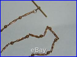 STYLISH DESIGN 16.4g ORNATE SOLID 9ct GOLD POCKET WATCH CHAIN with T-BAR & CLIP