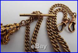 SUPERB 34.9g ENGLISH ANTIQUE 1910 SOLID 9CT GOLD DOUBLE ALBERT WATCH CHAIN & FOB