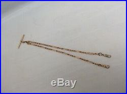 SUPERB 9ct GOLD EDWARD VII DOUBLE STRANDED ALBERT FOB WATCH CHAIN WITH T-BAR