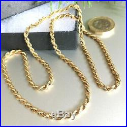 SUPERB 9ct SOLID GOLD ROPE CHAIN MEN'S/WOMEN'S NECKLACE 20 3/8 17.1grams