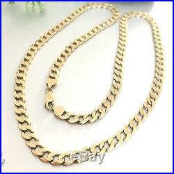 SUPERB 9ct SOLID YELLOW GOLD MEN'S 27 1/4 LONG CURB CHAIN NECKLACE 43.25 grams