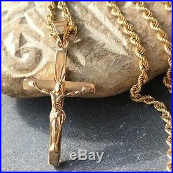SUPERB 9ct YELLOW GOLD CHRIST ON CROSS & 9ct GOLD ROPE 23 3/4 CHAIN 18.27g