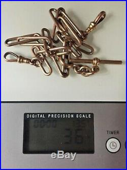 SUPERB ANTIQUE VICTORIAN 9ct GOLD HUTTON PAPERCLIP LINK FOB WATCH CHAIN 36g