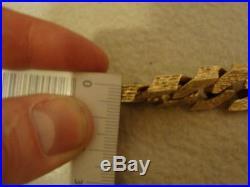 SUPERB CHUNKY HEAVY MENS 9CT GOLD BARK EFFECT CURB BRACELET 3.65Oz 113.8G FAB