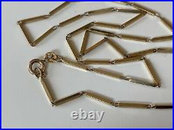 SUPERB STRONG 18.5 VINTAGE UNUSUAL ELONGATED BOX LINK 9ct GOLD NECKLACE CHAIN