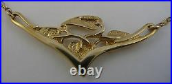 Scottish Ola Gorie Arts & Crafts Cecily Leaf Necklace Chain 9ct Yellow Gold Box