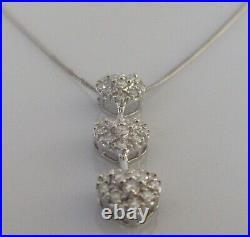 Secondhand 18ct White Gold Multi Diamond Heart Shape Pendant & 9ct gold Chain