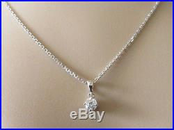 Secondhand 9ct White Gold Single Diamond 0.15ct Pendant & 9ct Gold Chain15inches