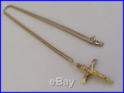Secondhand 9ct Yellow Gold Crucifix Cross Pendant & 9ct Gold Chain (24inches)