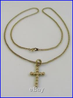 Secondhand 9ct Yellow Gold Multi Diamond Cross Pendant & 9ct Gold Chain 18inches