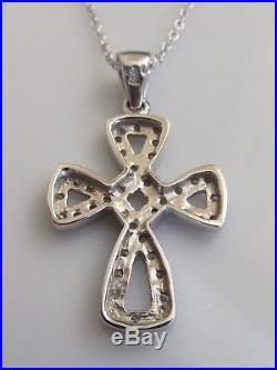 Secondhand 9ct white gold multi diamond cross pendant & 9ct gold chain 16inches