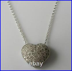 Secondhand 9ct white gold multi diamond heart shape pendant & 9ct gold chain