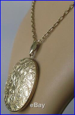 Secondhand 9ct yellow gold large oval locket & 9ct gold chain (19inches)