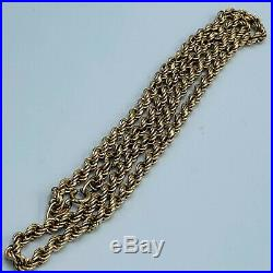 Solid 375 9ct Yellow Gold Rope Twist Chain 20 Necklace 14.3g L22