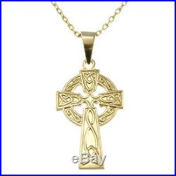 Solid 9ct Gold Celtic Cross with 18 Gold Chain & Gift Box