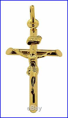 Solid 9ct Gold Crucifix Jesus on Cross Pendant Necklace Chain Option In Gift Box