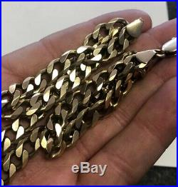 Solid 9ct Gold Heavy 49.12g Grams Flat Curb Link Chain 21.5