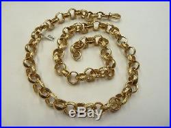 Solid 9ct Gold Heavy Plain & Patterned 24 Belcher Chain 88 grams