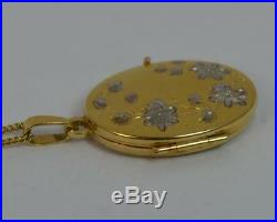 Solid 9ct Gold Ladies Locket Pendant with 18 Chain P1808
