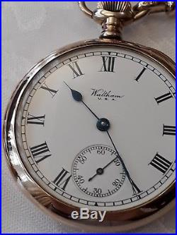Solid 9ct Gold Waltham Bartlett Pocket Watch 1922 WITH 9ct Gold watch chain+ Fob