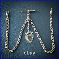Solid 9ct Rose Gold Double or Long Single Albert Chain with Gold Fob 49 Grams