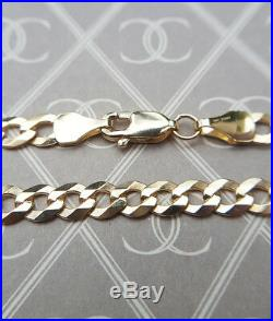 Solid 9ct Yellow Gold 4.5mm Men's Unisex Curb Chain Necklace 20 22 24