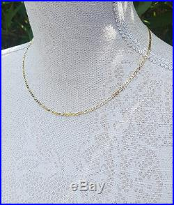 Solid 9ct Yellow Gold Diamond Cut Figaro Chain 18 20 22 24 for Men & Ladies