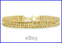 Solid 9ct Yellow Gold Diamond Cut Spiga Chain Bracelet 18cm/7 Womens Gift Boxed