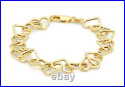 Solid 9ct Yellow Gold Open Love Heart Belcher Chain Bracelet 19cm/7.5 Gift Box