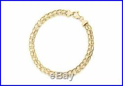 Solid 9ct Yellow Gold Rollerball Chain Bracelet 19cm/7.5 Womens Gift Boxed