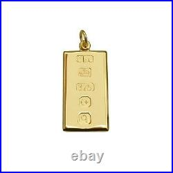 Solid 9ct Yellow Gold Small Ingot Pendant With Chain & Engraving Options