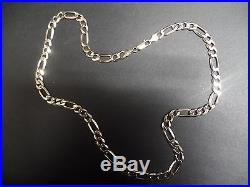 Solid 9ct gold chunky Figaro link chain 29.3g strong links & clasp 21 inches