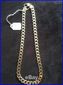 Solid 9ct gold curb flat neck chain hallmarked heavy 60 Grams