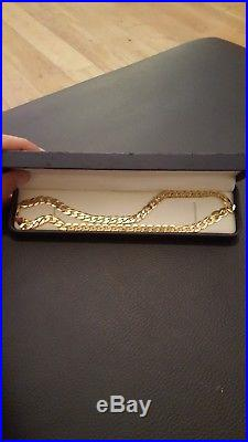 Solid 9ct gold mens / ladies flat curb chain necklace heavy 31.2g hallmarked 375