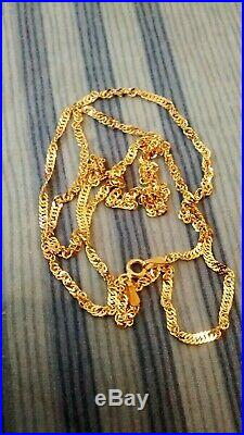 Solid 9ct gold necklace / chain. Singapore Twist style. Stunning. 24 inches