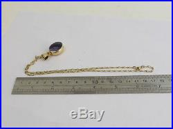 Solid 9ct large hallmark agate pendant & 9ct gold necklace chain