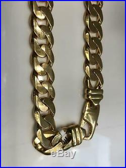 Solid Curb Chain Heavy 9ct Yellow Geniune Gold 13mm Wide Men's 116gr 22