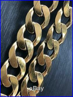 Solid Curb Chain Heavy 9ct Yellow Geniune Gold 15mm Wide Men's 177gr 22 6ons