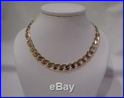 Solid Curb Link Chain Hallmarked 9ct Yellow Gold Length 22in (56cm) 62.8 g