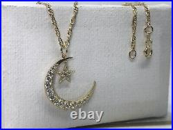 Solid Genuine 9K Gold Moon&Star Pendant Necklace Necklet Chain 18