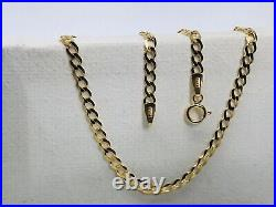 Solid Genuine 9ct Yellow Gold 3mm Flat Curb Chain Necklace 375 Hallmarked New