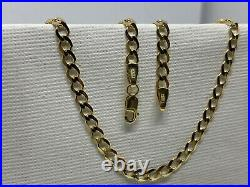 Solid Genuine 9ct Yellow Gold 4mm Flat Curb Chain Necklace 375 Hallmarked NEW
