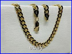 Solid Genuine 9ct Yellow Gold 5mm Flat Curb Chain Necklace 375 Hallmarked New