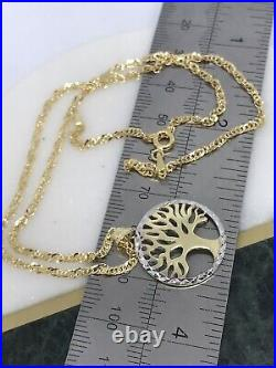 Solid Genuine 9ct Yellow Gold Tree of Life Pendant&Necklace Necklet 18 Chain