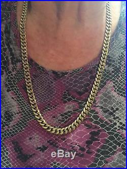 Solid Gold Real Genuine 375 9K 9 ct Gold Bevelled Chain