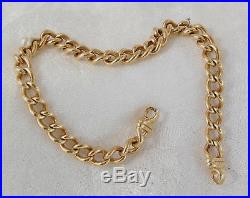 Solid Heavy 9ct Gold Curb Link Bracelet Chain, 19.88 grams, for Padlock Clasp