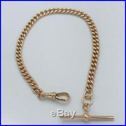 Solid Heavy Victorian 9ct Gold Single Albert Watch Chain & T Bar/ Bracelet #453